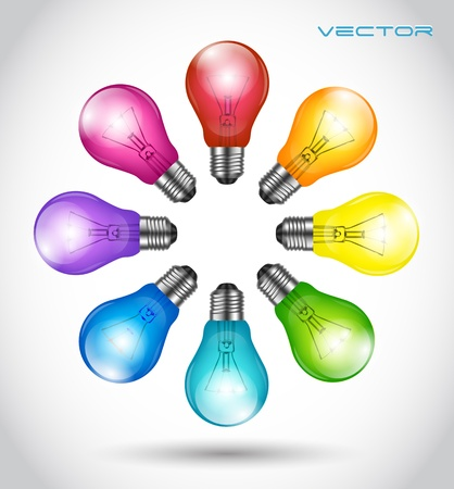Colorful background creative idea light bulbs Stock Vector - 12807567