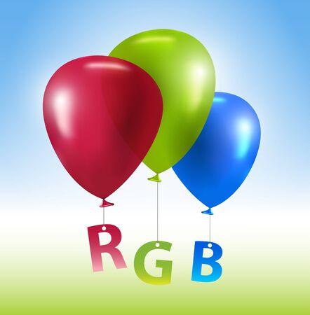 Vector colorful balloons RGB concept