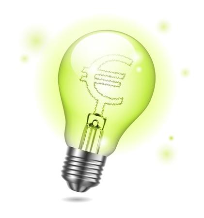 Vector bulb and euro sign creative business idea Vector