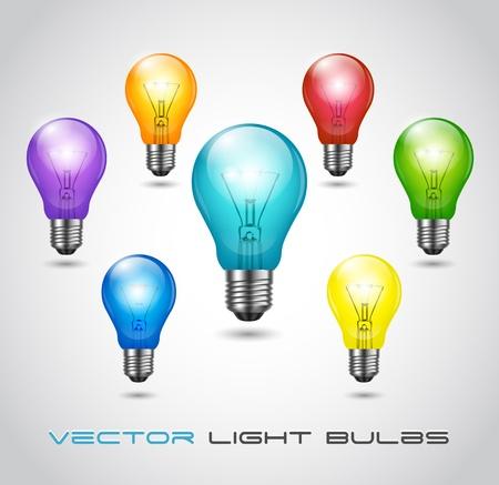 Vector 7 Colorful Bulbs set Vector