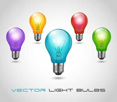 Vector Colorful glossy Bulb set Stock Vector - 12807557