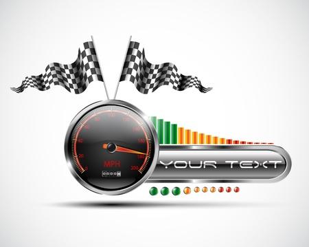 Racing speedometer banner design elements