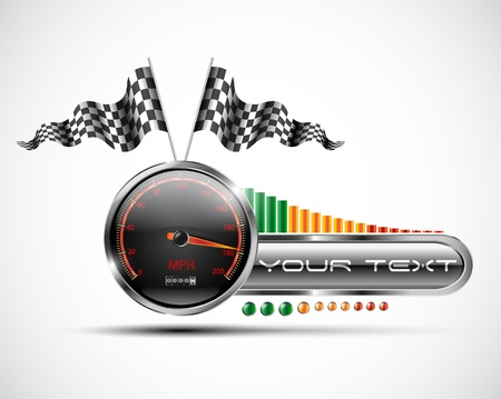 racer flag: Racing speedometer banner design elements