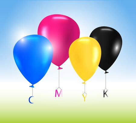 Vector colorful balloons CMYK concept Vector