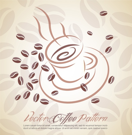 hot coffee cup and corn background Illustration