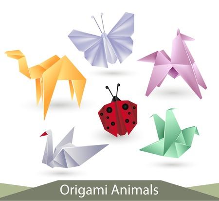 cisnes: origami de animales vectores en el fondo blanco Vectores