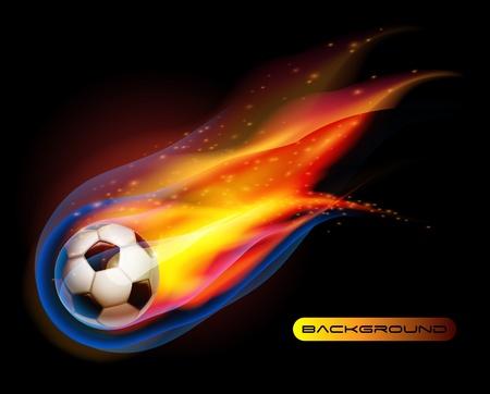 Fire Football soccer ball vector Иллюстрация