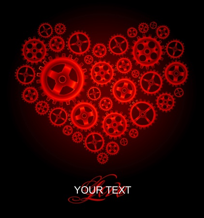 Vector red gear heart background