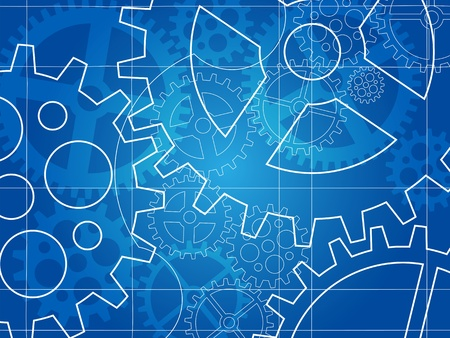 gear blueprint abstract design background Vector