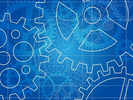 tandwielen: versnelling blauwdruk abstract ontwerp achtergrond Stock Illustratie