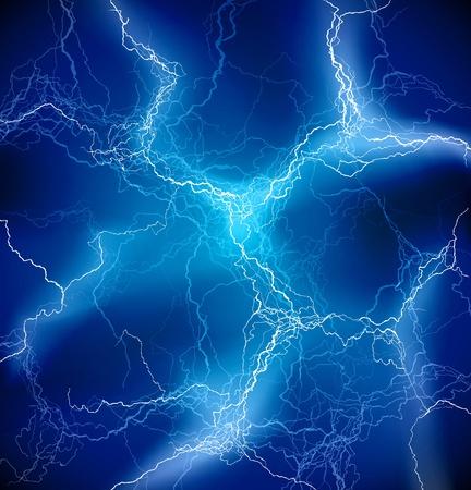 rayo electrico: Vector de iluminaci�n de fondo azul tormenta Vectores