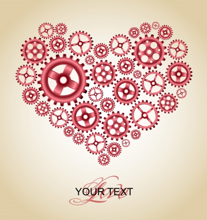 mechanical symbols: love gear heart background card