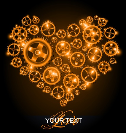 Vector shining gear heart background Vector