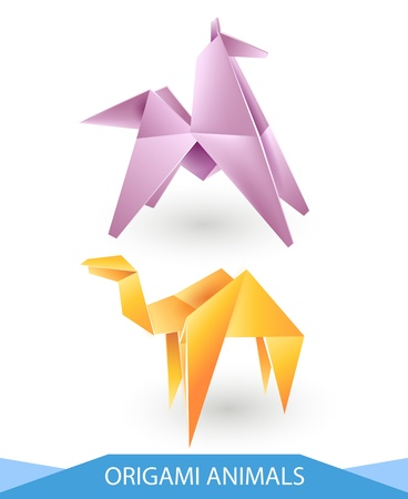 Origami animals vector - horse and camel