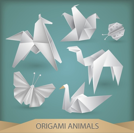 white origami animals vector set Vector