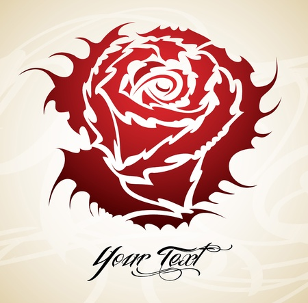 Vintage tattoo Rose tribal vector Vector