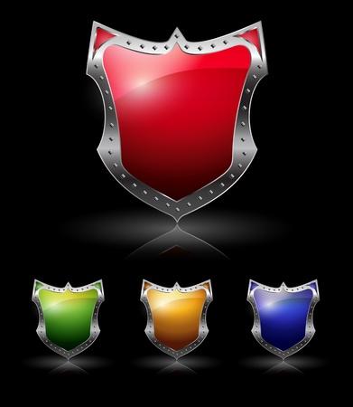 halcón: Escudo paquete conjunto de colores Vectores