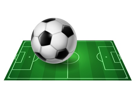 perspective Soccer field with ball - vector
