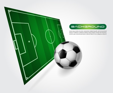 Soccer field with ball - perspective vector