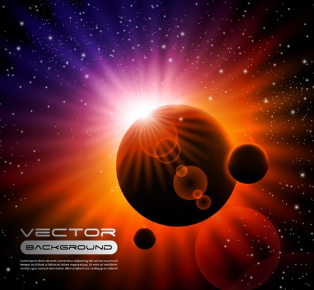 vector space background - sun rising over a planet Vector