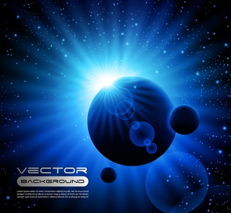 space blue background with planets Vector