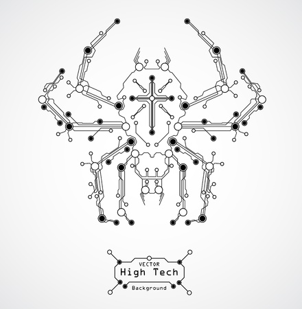 circuit board spider HIGH TECHbackground Иллюстрация