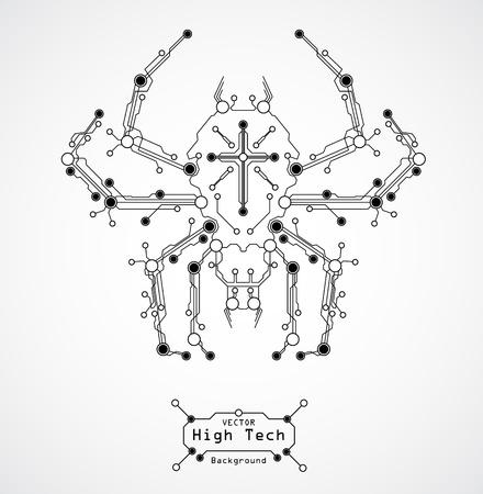 circuit board spider HIGH TECHbackground Illustration