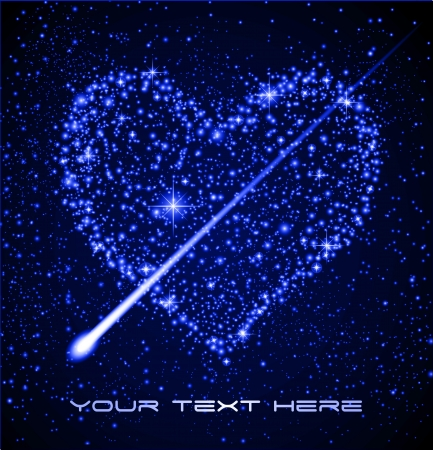 Space background - Star heart in night sky