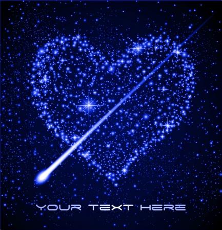 costellazioni: Spazio fondo - cuore stella nel cielo notturno Vettoriali