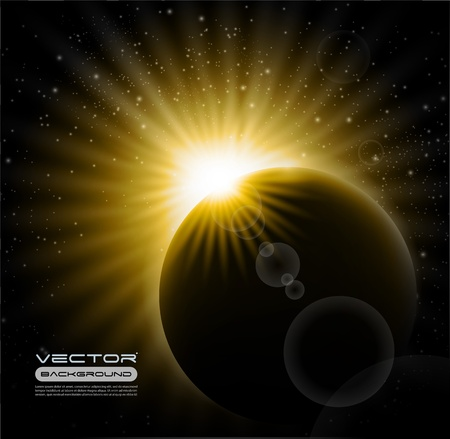 Vector burning sunrise in space Illustration