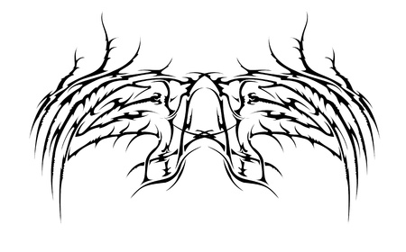 tribal wings vector tatoo style Vector
