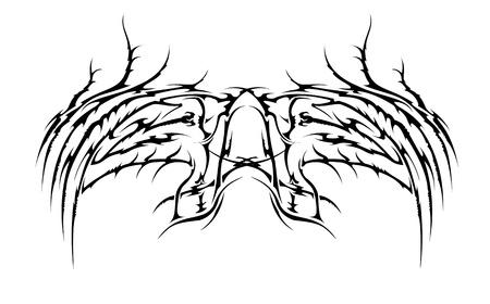 dark angel: tribal wings vector tatoo style