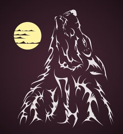 tribal Vector tattoo style wolf Illustration
