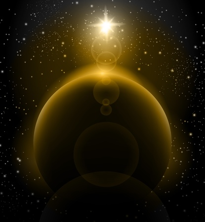 Shining Sun over Earth planet space background Vector