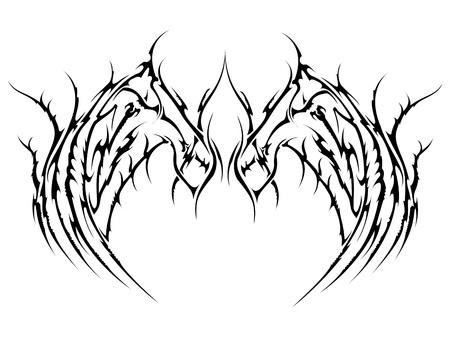 tribal tattoo vleugels Stock Illustratie
