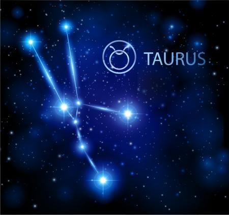 abstract background - night sky stars with taurus horoscope sign constellation Иллюстрация