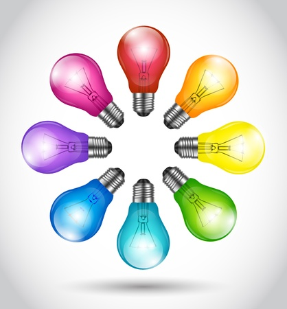 similar images preview: Colorful background creative idea light bulbs