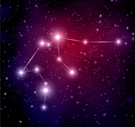 abstract space background with stars and Aquarius constellation