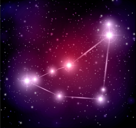 abstract space background with stars and capricorn constellation Illustration