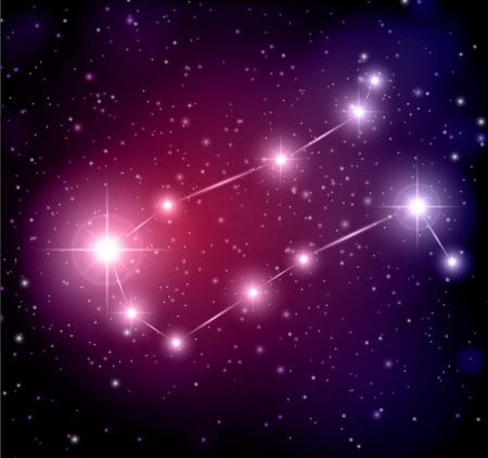abstract space background with stars and Gemini constellation