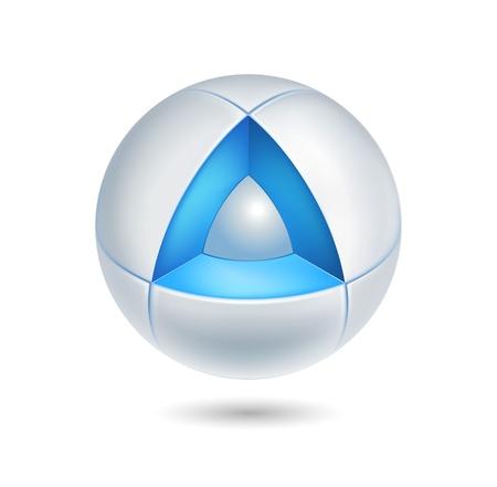 high tech abstract icon - 3d realistic logo