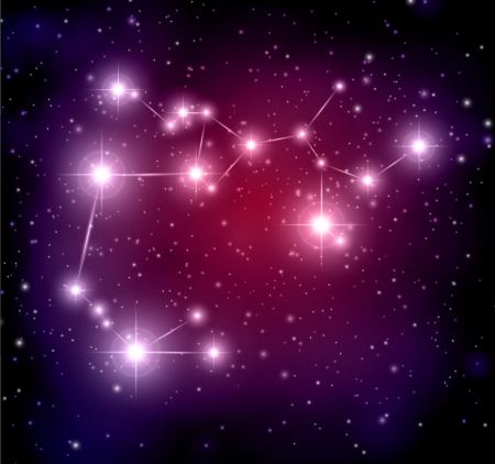 abstract space background with stars and Sagittarius constellation Vector