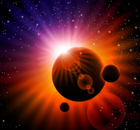 space background - sun rising over a planet Stock Vector - 14305679