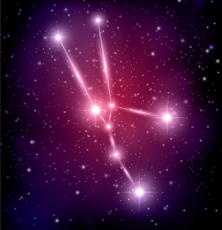 abstract space background with stars and Taurus constellation