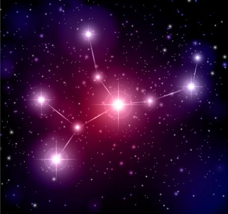 virgo: fondo del espacio abstracto y la constelación de Virgo