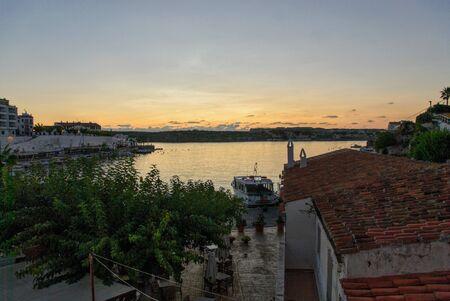 view es castells, a town near Mahon, at sunrise Stock Photo