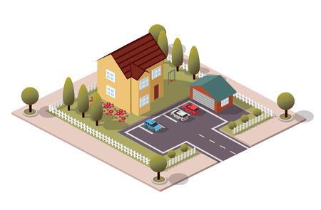 garage on house: Vector Isometric House  Garage Illustration