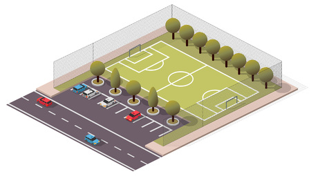 Vector Isometric SoccerFootball Pitch