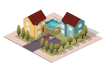 overhang: Vector Isometric House Neighbors