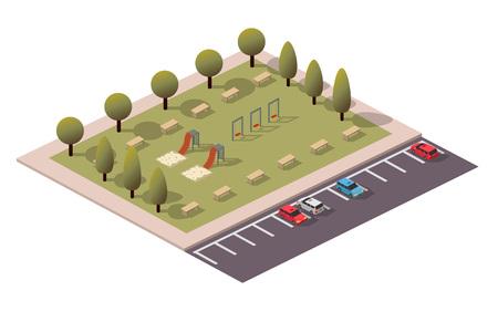 Vector Isometric Playing Park Иллюстрация